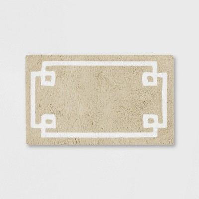 "20""x30"" Geometric Cotton Tufted Bath Rug Taupe"