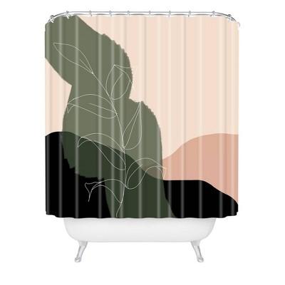 Aleeya Jones Boho Print Shower Curtain Beige/Green - Deny Designs