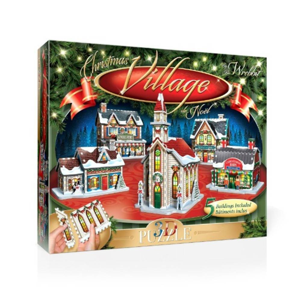 Wrebbit The Christmas Village 3D Panel Puzzle 116pc The Wrebbit Christmas Village 3D Panel Puzzle will put everyone in the Holiday spirit right from the start! Whether you do this fun and easy activity by yourself, with family or loved-ones, these five welcoming buildings will be a perfect addition to your Holiday decor. Once the seasonal festivities are over, the disassembled panel puzzle will go back tidily in it's box, ready to create new cherish able memories next Christmas. Includes 5 buildings (Christmas Barn 7.5 inches x 5.2 inches x 5.8 inches, Candy Store 6.6 inches x 6.1 inches x 6.7 inches, Country Home 7.5 inches x 4.3 inches x 5.2 inches, General Store 6.8 inches x 6.2 inches x 7 inches and Chapel 5.4 inches x 6.8 inches x 9.8 inches). Wrebbit puzzles have snug and tight fitting foam back pieces that are easy to handle. They are the sturdiest 3D puzzles on the market. Highest quality of design and illustration. Made in Canada. Age - 10 and up. Warning: Choking Hazard -- Small parts. Not for children under 3 yrs. Gender: Unisex.