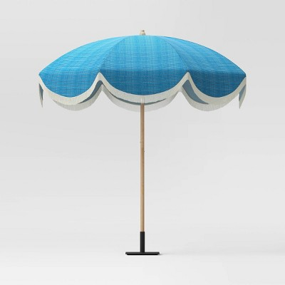 7.2' Round Fringed Patio Umbrella Teal - Opalhouse™