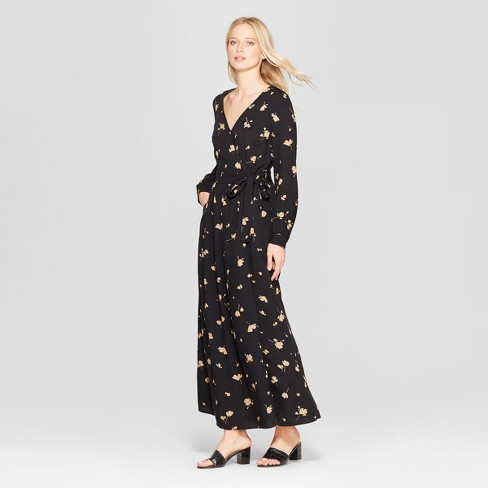 12e7a794efb6a Women's Floral Print Long Sleeve Maxi Wrap Dress - Who What Wear™ Black XS  : Target