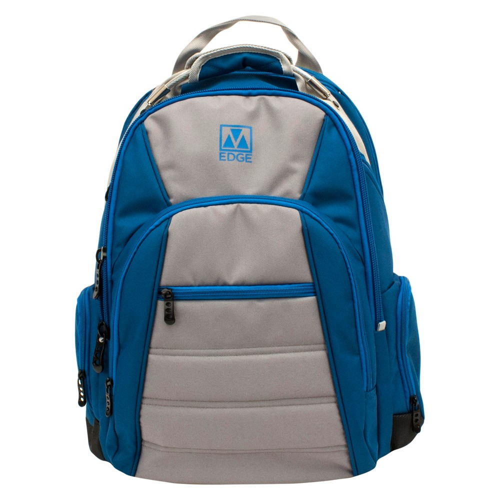 "Image of ""M-Edge 18"""" Cargo Backpack with Built-in 6000 mAh Portable Charger - Blue/Silver, Silver Blue"""
