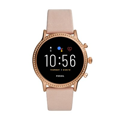 Fossil Gen 5 Smartwatch Julianna HR 44mm - Rose Gold-Tone with Blush Leather