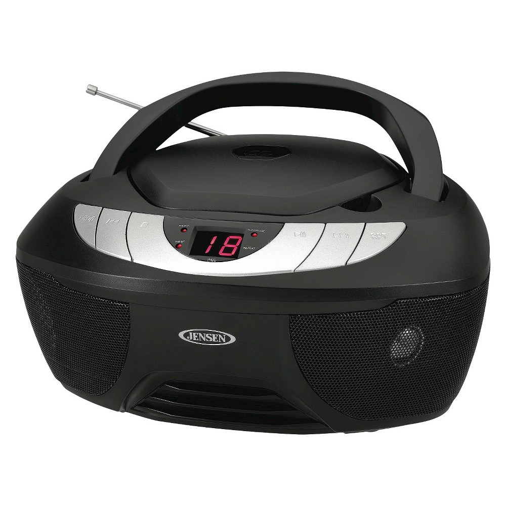 Jensen CD AM/FM Radio Boombox with Led display - Black (CD-475) Experience great sound with the Jensen CD-475 portable CD music system. This device may look like a traditional boombox, but it's jam packed with features that will make listening to your favorite tunes easier and more enjoyable than ever before. Play music from a CD, AM/FM radio, or connect your iPod, MP3, or other digital audio players to the auxiliary input jack. When you power on your device find all your favorite tracks, stations, and audio settings stored into the unit's programmable memory. This modern boombox also has a bright and bold Led display, which details the disc and track. This CD-475 operates on 120V AC/60Hz as well as 6 x C batteries (not included). This versatile and portable Jensen music system can be left at home or taken with you wherever you go! Color: Black.