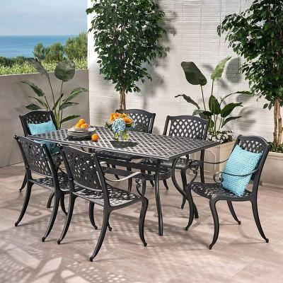 Cayman 7pc Cast Aluminum Patio Dining Set - Black - Christopher Knight Home