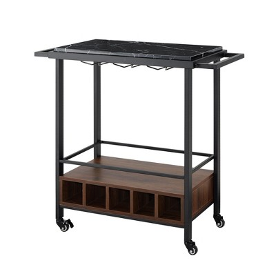 34  Serving Bar Cart Black Faux Marble/ Dark Walnut - Saracina Home