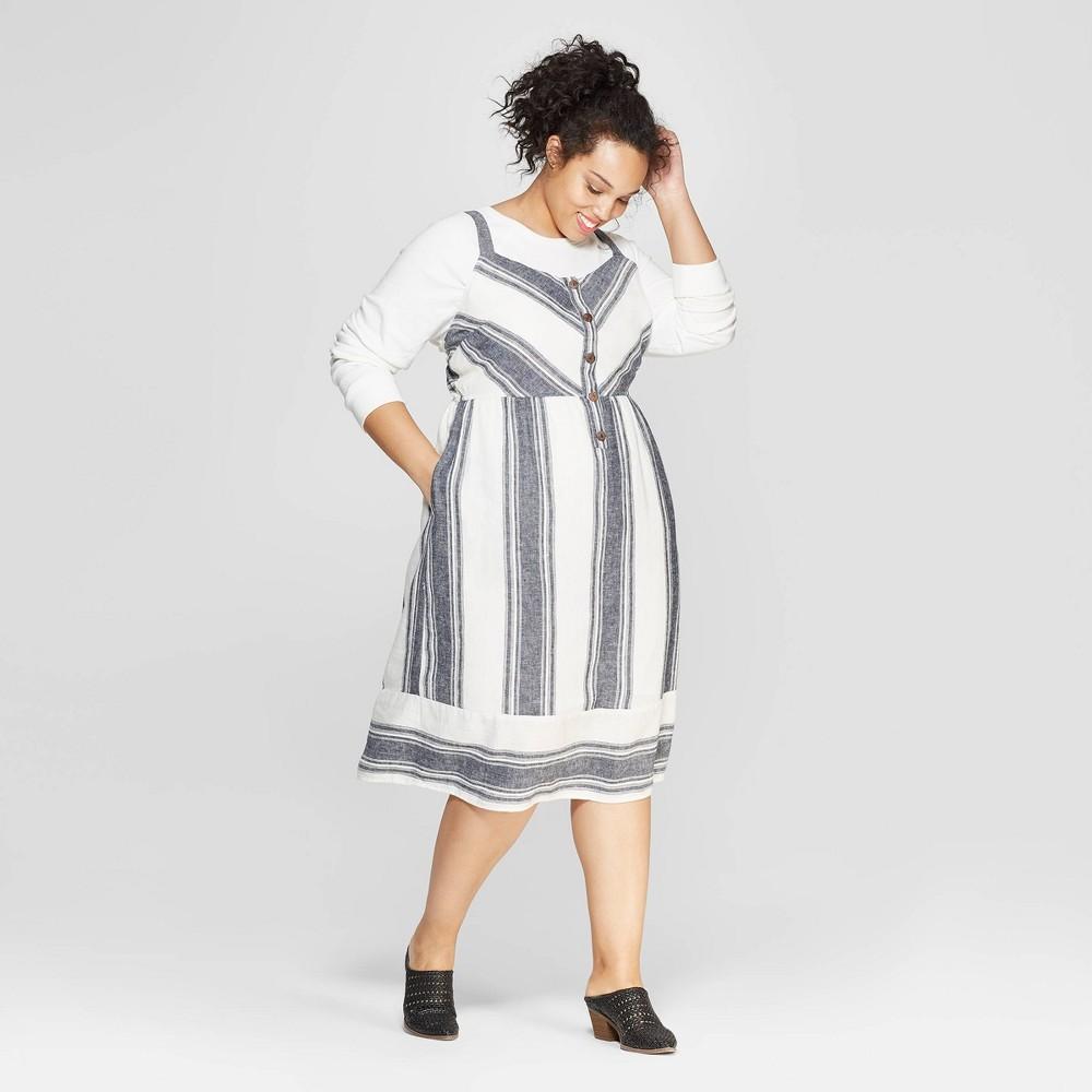 Women's Plus Size Striped Sleeveless V-Neck Button Front Midi Dress - Universal Thread Blue X