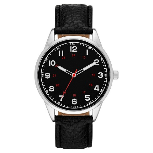 Men's Round Face Watch - Black & Silver - image 1 of 1