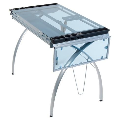 Futura Craft Station with Folding Shelf - Silver/Blue Glass - image 1 of 3