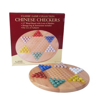 """Classic Game Collection - 12"""" Wood Chinese Checkers Set with Marbles"""