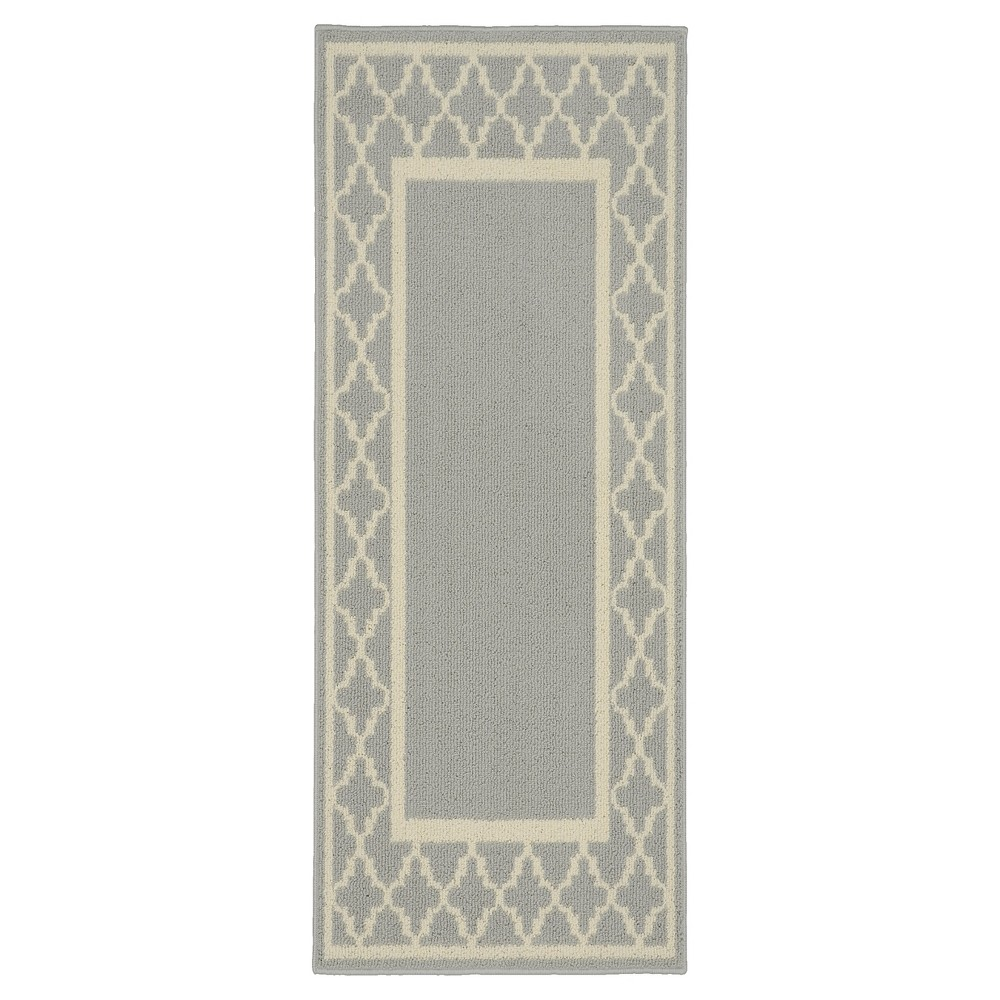 Image of 2'X5' Geometric Accent Rug Silver/Ivory - Garland Rug