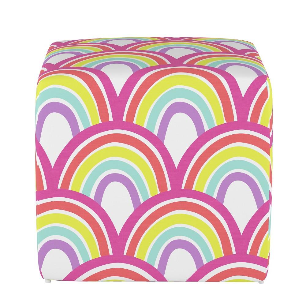 Image of Kids Cube Ottoman Rainbow Scallop - Pillowfort
