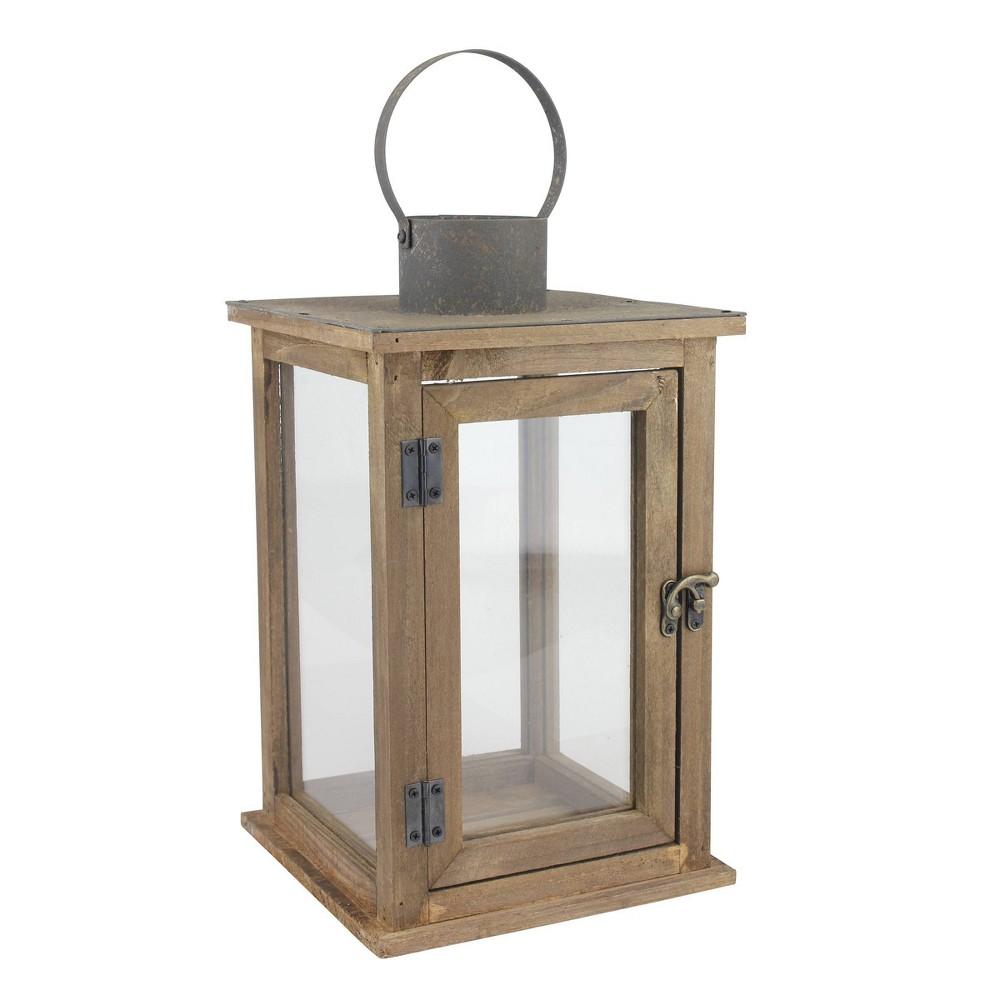 Coupons 12.9 Stonebriar Rustic Wooden Candle Holder Lantern - CKK Home Decor