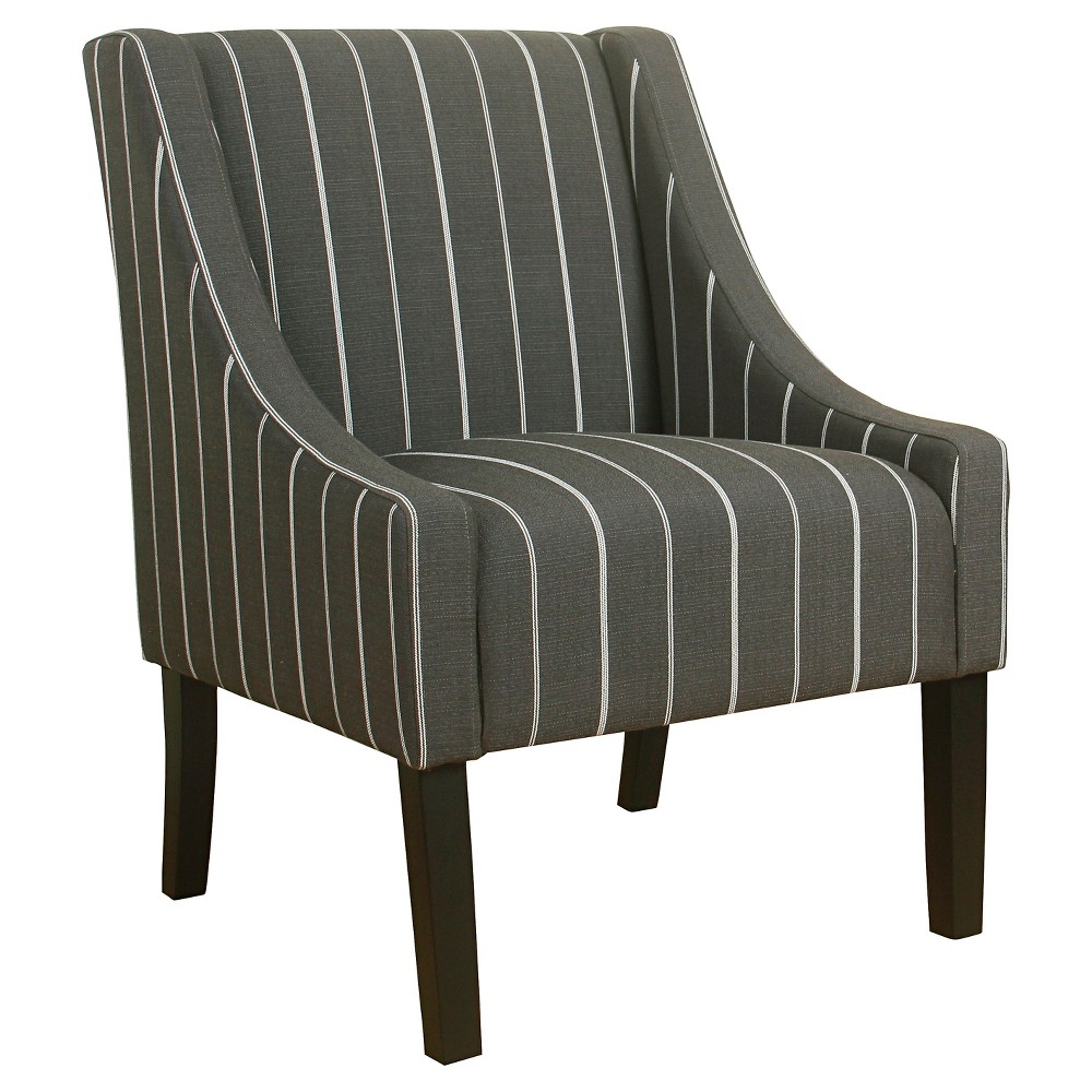 Modern Swoop Accent Chair - Charcoal (Grey) Stripe - Homepop