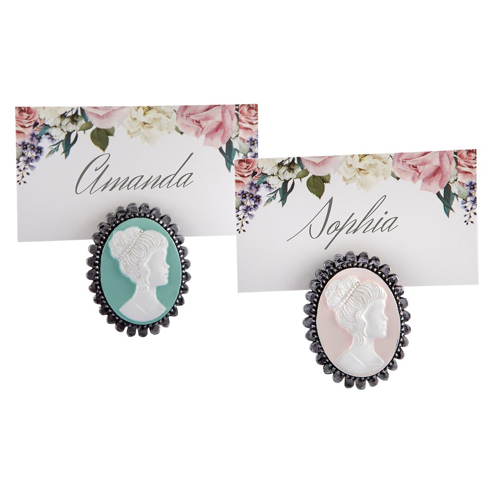 12ct Vintage Cameo Place Card Holder, Multi-Colored