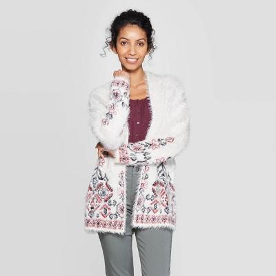 Women's Printed Long Sleeve Eyelash Cardigan   Knox Rose™ White by Knox Rose