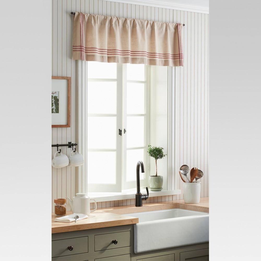 Window Valance - Linen/Red Plaid Border - Threshold