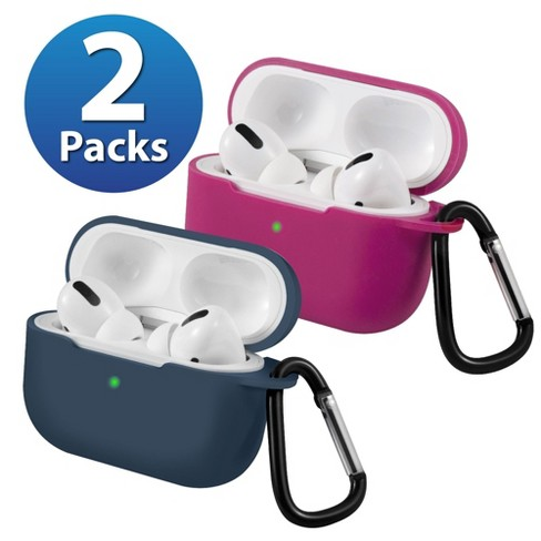2-Pack For AirPods Pro Case [Midnight Blue & Red] Ultra Thin Silicone Protective Cover with Keychain For Apple AirPods Pro 2019 (3rd Gen) by Insten - image 1 of 1