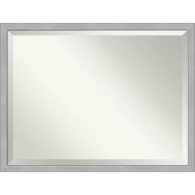 "43"" x 33"" Vista Brushed Framed Bathroom Vanity Wall Mirror Nickel - Amanti Art"