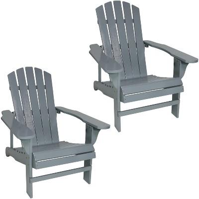 Sunnydaze Outdoor Coastal Bliss Painted Fir Wood Lounge Backyard Patio Adirondack Chair - Gray - 2pk