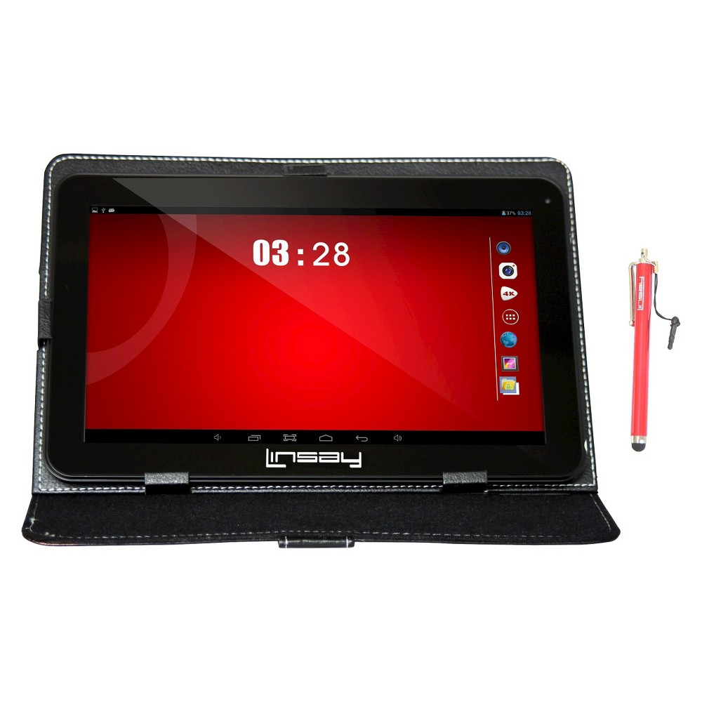 Linsay 10.1 1024x600 HD Quad Core 16GB Internal Memory Tablet with Black Case and Pen Stylus