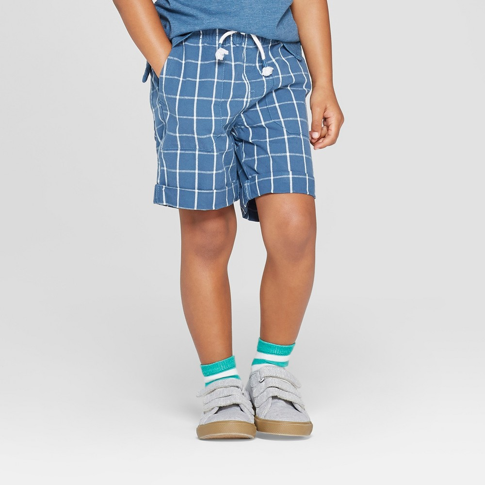 Toddler Boys' Plaid Pull-On Shorts - Cat & Jack Blue 4T