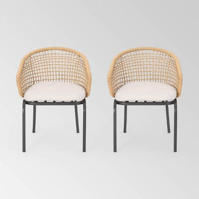 Arias Set of 2 Wicker Club Chair - Light Brown/Beige - Christopher Knight Home