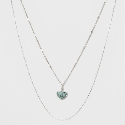 Two Row Layered Charm Necklace - Universal Thread™