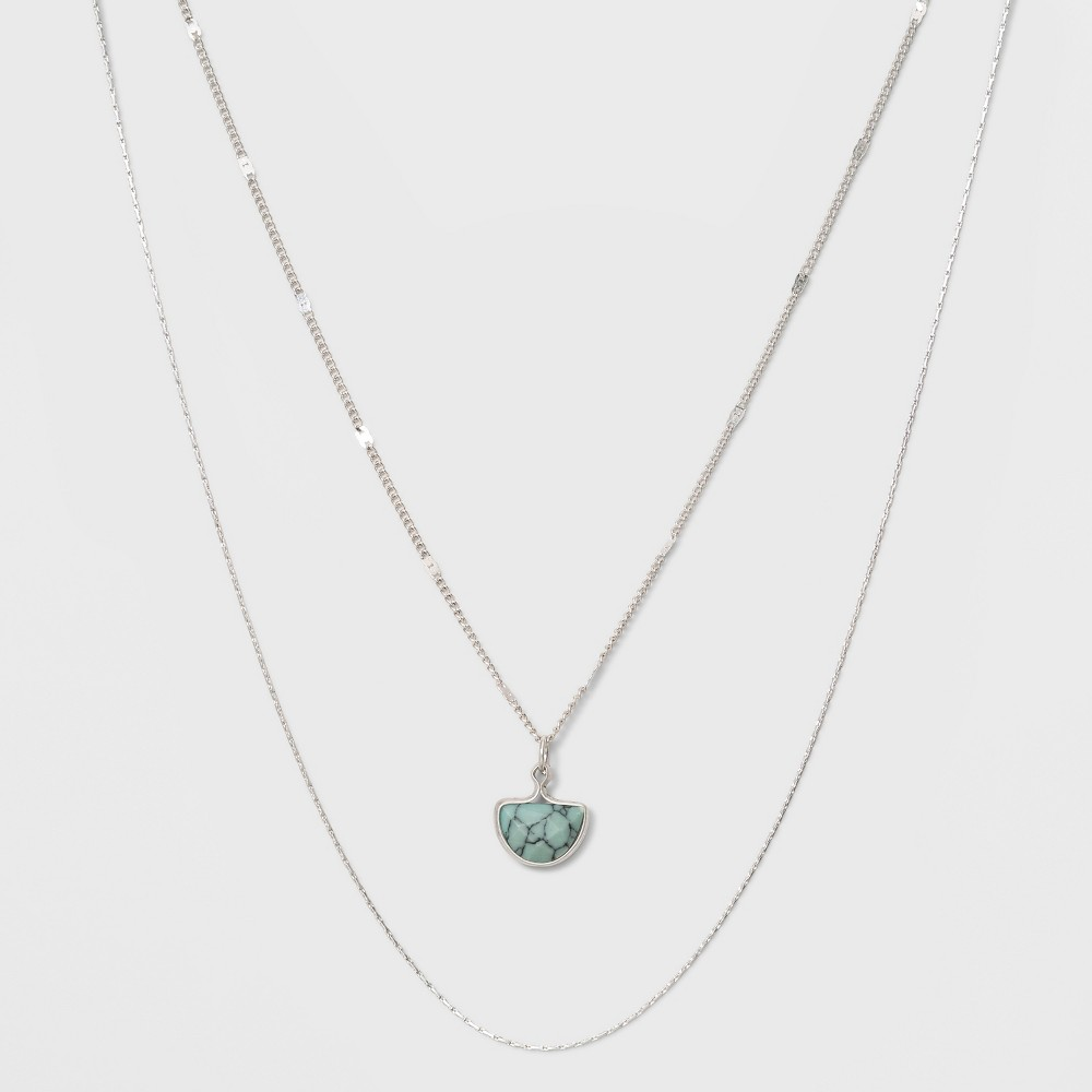 Two Row Layer with Semi Precious Turquoise Charm Necklace - Universal Thread Light Blue