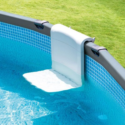 Intex 28053E Foldable Swim Bench Seat Lounge Chair Backrest Holder Accessory for Above Ground Pools with 33 Inch Frame, White