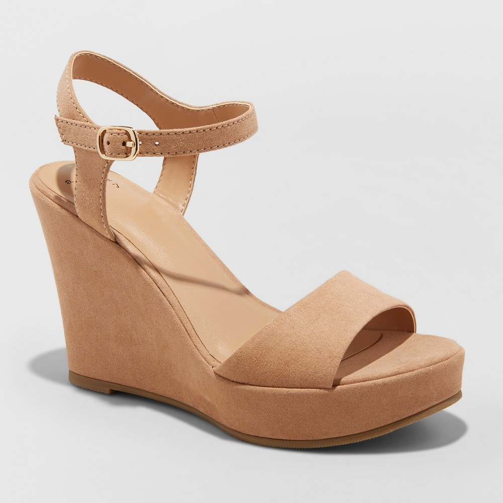 Women's Jazmine Quarter Strap Wedge Pumps - A New Day Taupe (Brown) 10