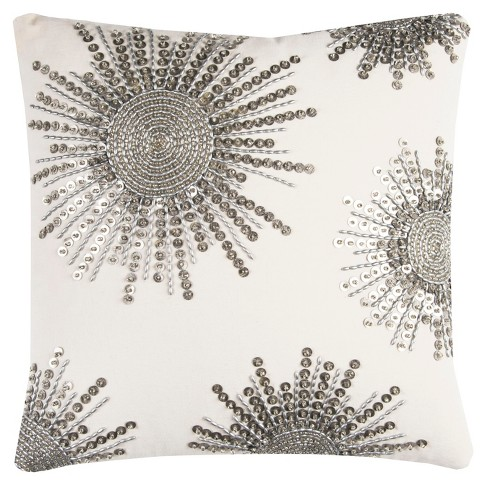 Rizzy Home Starburst Beaded Textural Throw Pillow Silver
