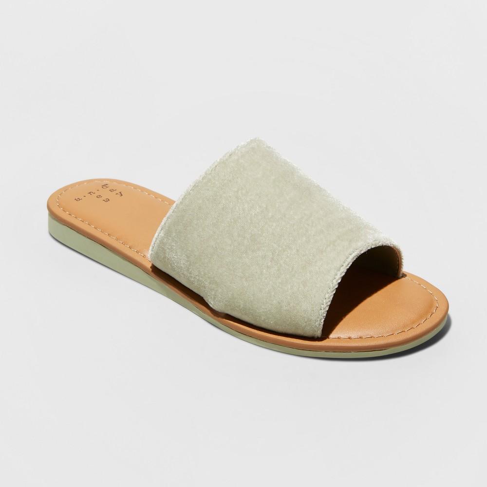 Women's Dorathea Velvet Slide Sandals - A New Day Mint Green 6