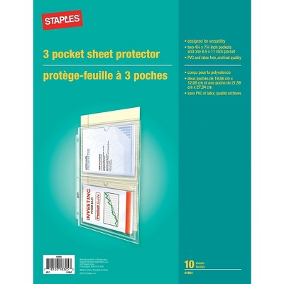 Staples 3-Pocket Sheet Protectors Clear 952556