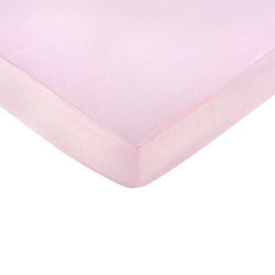 Sweet Jojo Designs Toile Gingham Fitted Crib Sheet - Pink