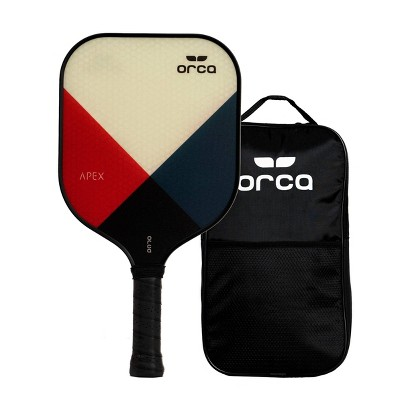 MD Sports Orca Apex Polymer Honeycomb Pickleball Paddle with Carry Bag - White/Blue/Red