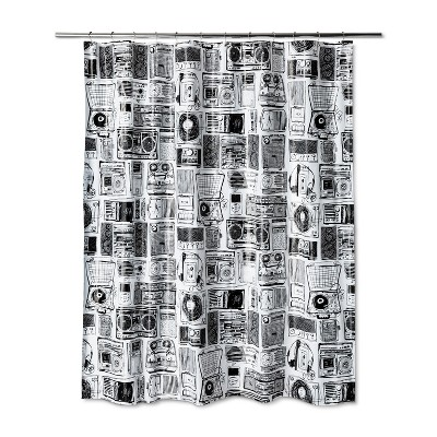 Stereo Shower Curtain Black and White- - Room Essentials™
