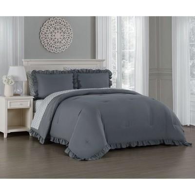 King 7pc Melody Comforter Set Gray - Blush