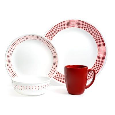 Corelle Vitrelle 16pc Dinnerware Set - Red/White