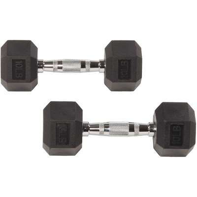 Sporzon Exercise Equipment Rubber Encased Pair of Hexagon Handheld Weight Dumbbells with Contoured Non Slip Handles for Home Fitness, 10 Pounds