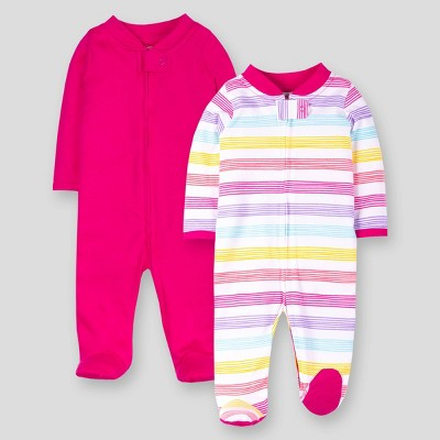 Lamaze Baby Girls' 2pk Striped and Solid Sleep 'N Play - Pink