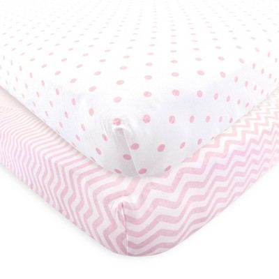 Luvable Friends Unisex Baby Fitted Crib Sheet - Pink Chevron Dot One Size