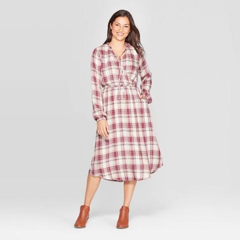 Women's Plaid Long Sleeve Midi Dress -  Knox Rose™ Red - image 1 of 2