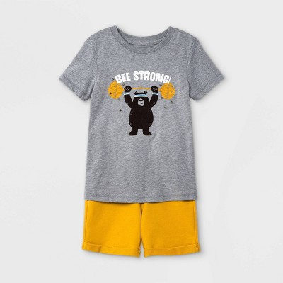 Toddler Boys' 2pc 'Bee Strong' Bear Short Sleeve Graphic T-Shirt and French Terry Shorts Set - Cat & Jack™ Gray/Yellow