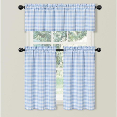 Kate Aurora Country Farmhouse Living Blue Plaid Gingham 3 Pc Kitchen Curtain Tier And Valance Set - 56 in. W x 36 in. L - image 1 of 2