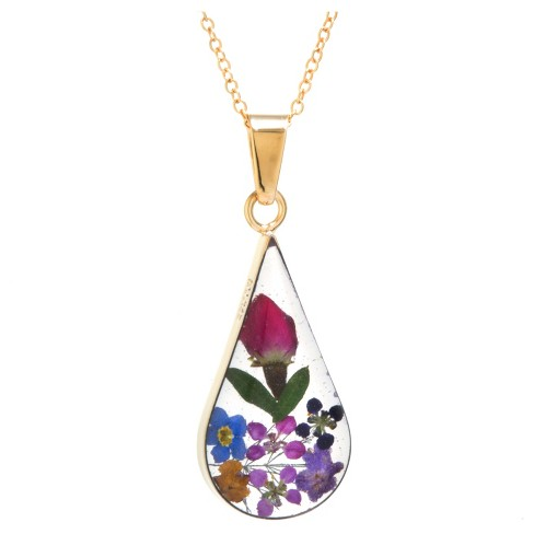 "Women's Gold over Sterling Silver Pressed Flowers Teardrop Pendant (18"") - image 1 of 1"