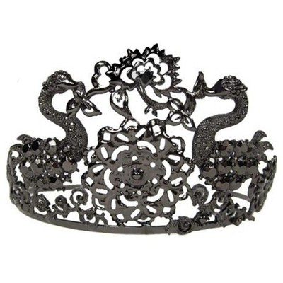 Elope Jeweled Black Tiara Costume Crown