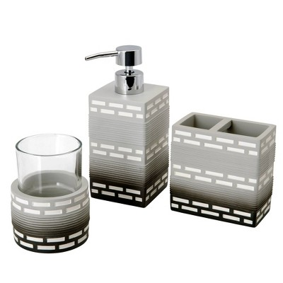 3pc Dash Lotion Pump, Toothbrush Holder Tumbler Gray - Allure Home