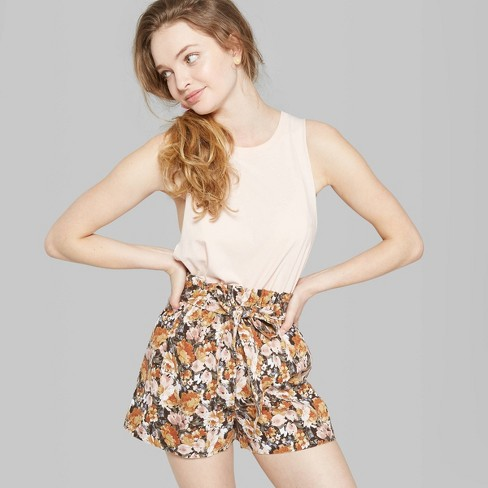 Women's Floral Print High-Rise Paperbag Shorts - Wild Fable™ Gold - image 1 of 3