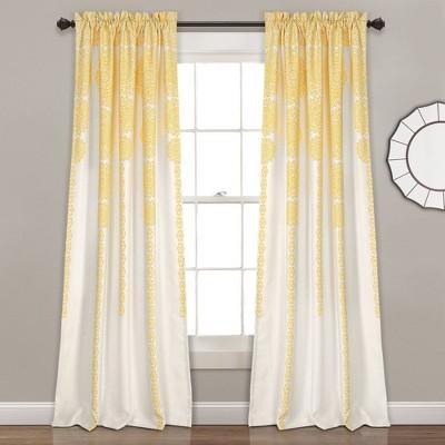 "Set of 2 52""x84"" Stripe Medallion Room Darkening Window Curtain Panels Yellow - Lush Décor"